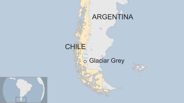 Mapa mostra a localização da geleira, que, segundo especialistas, tem sofrido perda de massa e diminuiu nos últimos anos