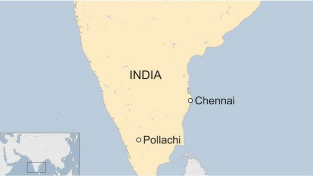 A map showing where Polachi is in India