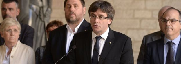 Catalan President Carles Puigdemont on 20 Sept