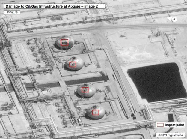 refinaria danificada por ataque na Arábia Saudita