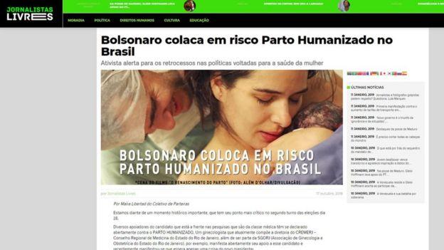 Captura de tela mostra site Jornalistas Livres com título: 'Bolsonaro coloca em risco Parto Humanizado no Brasil'