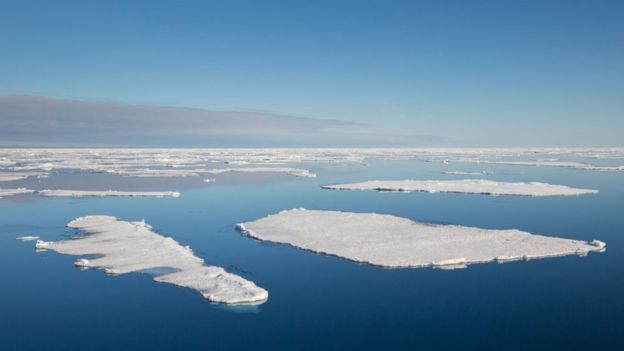 Ice floes in the Arctic Ocean