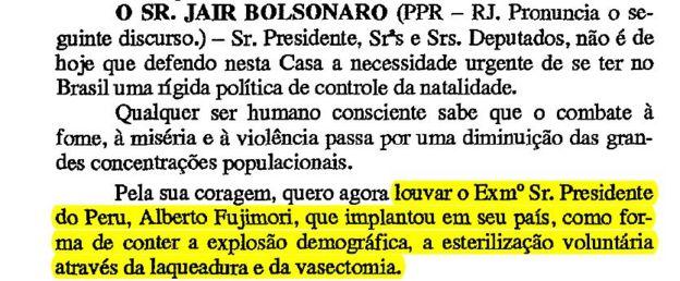 Reprodução notas taquigráficas de Bolsonaro