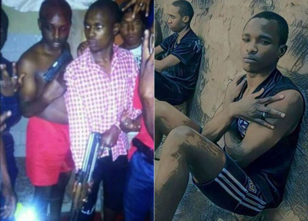 R: Mwani Sparta, a known gangster in Kenya, who it is suspected was targeted in an extrajudicial killing L: Mwani Sparta, the checked shirt, with members of his gang