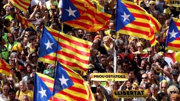Manifestación en Cataluña en abril.