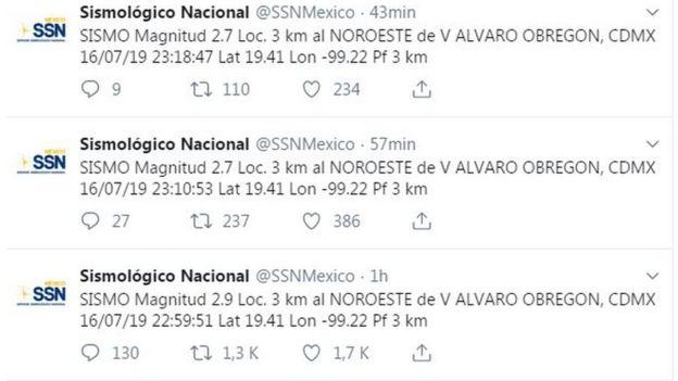 Registro de sismos del SSN