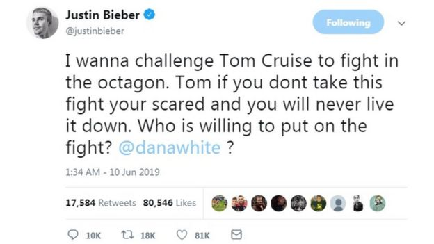 "@justinbieber tweeted: ""I wanna challenge Tom Cruise to fight in the Octagon. Tom if you don't take this fight you're scared and you will never live it down. Who is willing to put on the fight? @danawhite?"""