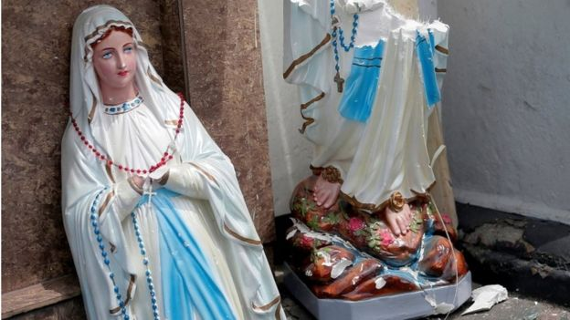 A statue of the Virgin Mary broken in St Anthony's Shrine