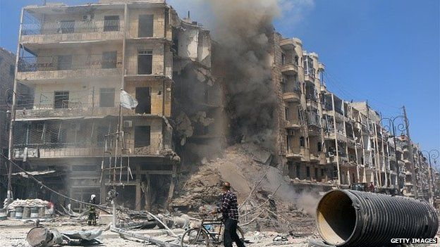 A building that has been bombed in Syria in April 2015.