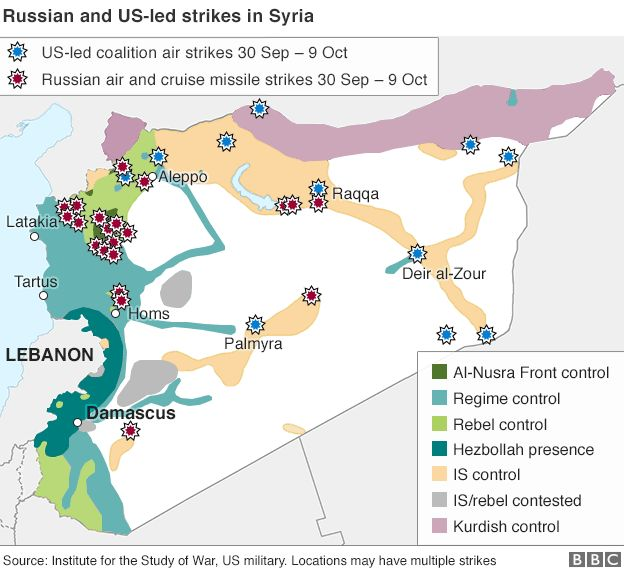 Map of Syria showing control by warring parties and air strikes (12 Oct 2015)