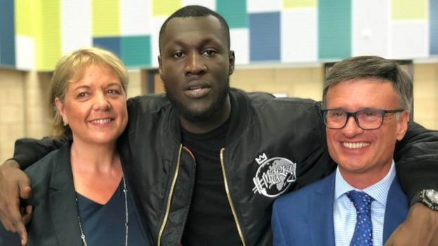 Stormzy visiting his old school in South London in 2018.