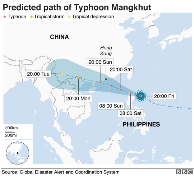 Predict path of Typhoon Mangkhut which will make landfall on the Philippines at 02:00 local time
