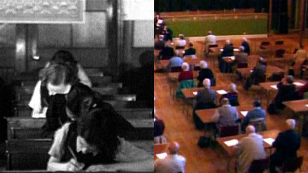 Crianças fazendo exame na Escócia