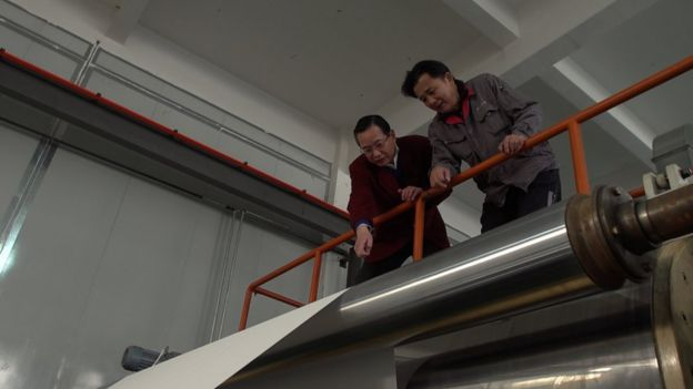 Song Junfu at his paper factory in Haining.
