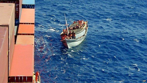The stranded Indonesian ferry carrying more than 400 refugees, comes alongside the Norwegian Cargo ship Tampa before they were rescued off Christmas Island