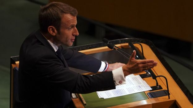France's President, Emmanuel Macron, at the UN, 25 September