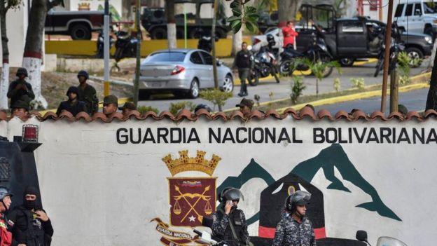 Vista del cuartel de la Guardia Nacional en Cotiza.
