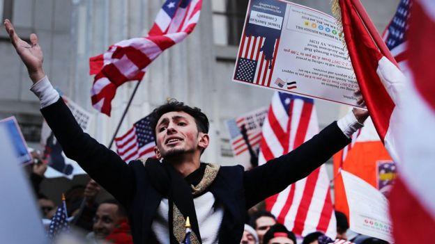 Manifestación en contra del veto migratorio.