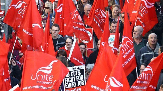 Unite members at a demonstration (file pic)