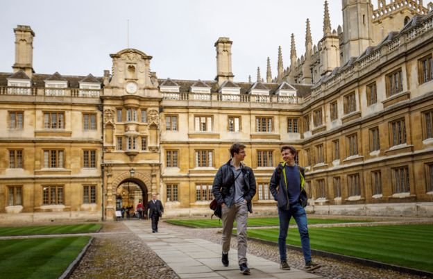 Students walking through one of the Cambridge colleges