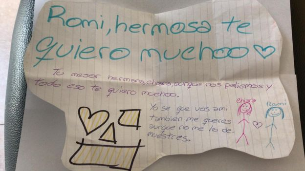 "Carta de Chiara a Romina: ""Romi, hermosa, te quiero mucho"""