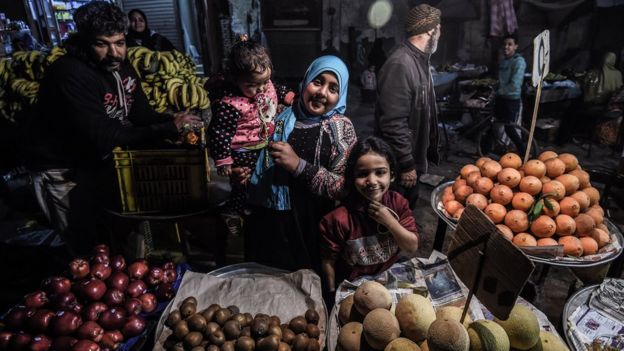 A family at the market in Cairo