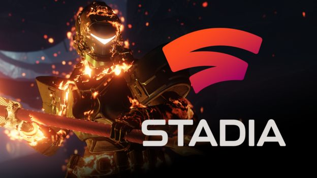 Destiny 2 character with Stadia logo