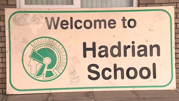 Hadrian School welcome sign daubed with graffiti