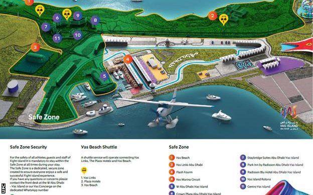 خارطة الجزيرة والمنطقة المضللة باللون الأخصر هي ما يعرف بالمنطقة الآمنة ويجري فيها أيضا سباق السيارات فورمولا 1 (سباق جائزة أبو ظبي الكبرى)