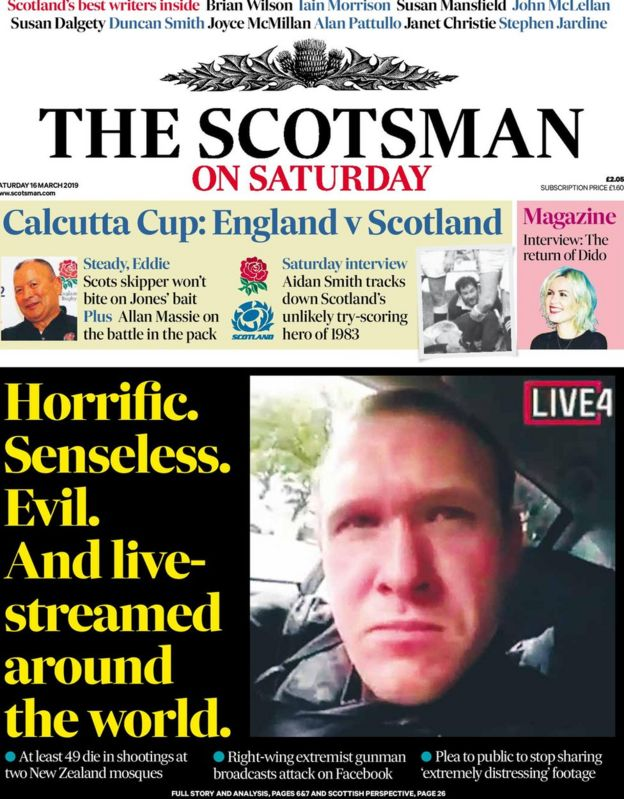 Scotland's papers: New Zealand attack live-stream horror - BBC News