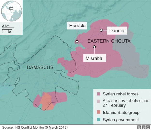 A map showing Eastern Ghouta, Syria