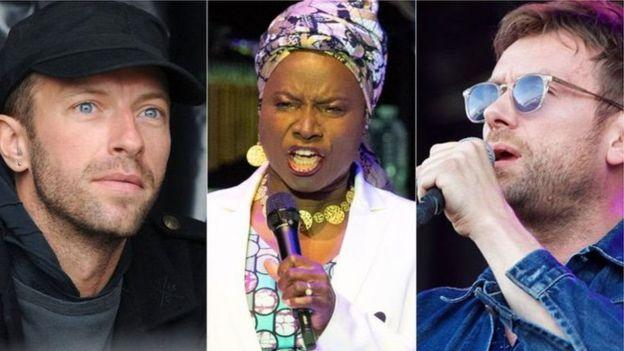 Zaidi ya wasanii 80 wanataka Bobi wine aachiwe Huru akiwemo Chris Martin (kustoto), Angelique Kidjo (katikati) na Damon Albarn (kulia)