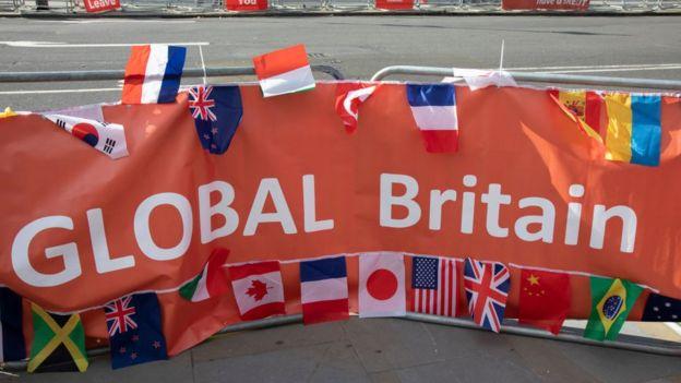 Pancarta de Global Britain.