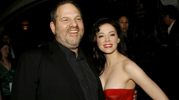 Harvey Weinstein and Rose McGowan pictured at a premiere for the film Grindhouse in 2007