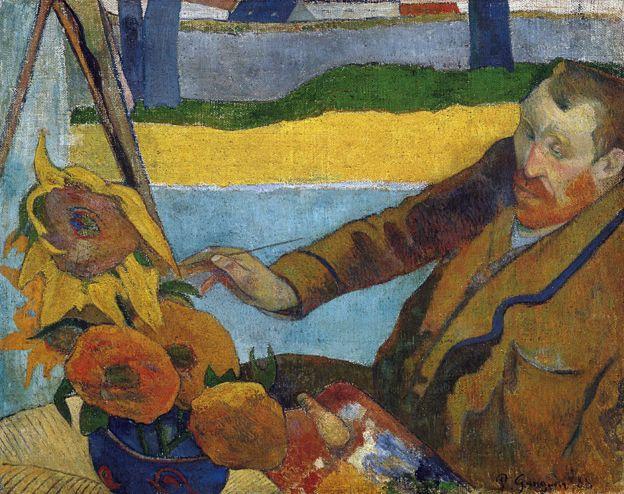 Van Gogh pintando girassóis, em retrato de Gauguin