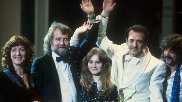 Nicole (centre) - winner of 1982 Eurovision