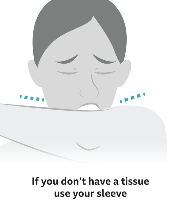 Text reads: If you don't have a tissue, use your sleeve