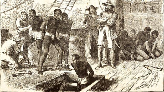 Gravura de 1881 de um 'navio negreiro'
