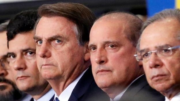 O presidente Jair Bolsonaro e ministros