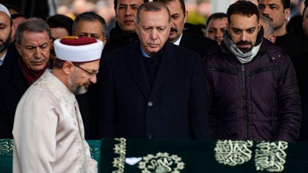 Cumhurbaşkanı Erdoğan cenaze törenine katıldı.