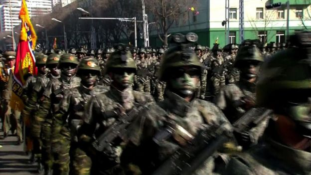 "This screen grab taken from North Korea""s KCTV on February 8, 2018 shows members of North Korea""s military taking part in a parade in Kim Il Sung Square in Pyongyang. North Korea staged a military parade in Pyongyang on February 8 to mark the 70th anniversary of its armed forces, in a show of strength just a day before the Pyeongchang 2018 Winter Olympic Games open in the South. / AFP PHOTO / KCTV / KCTV / --"
