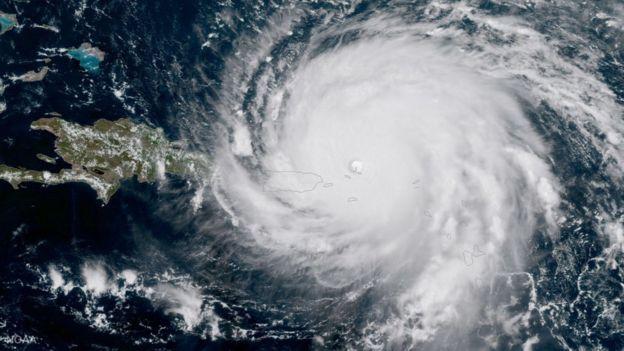 Vista desde el satélite del huracán Irma.