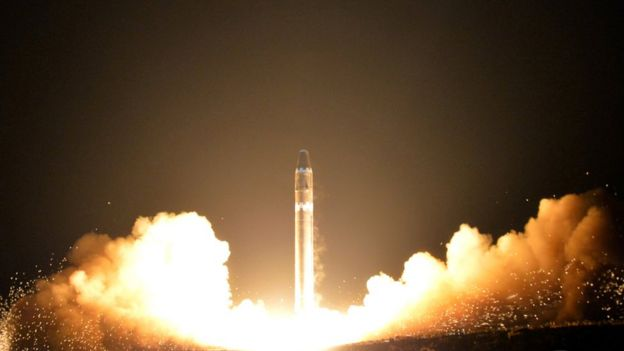 A launch of a North Korean intercontinental ballistic missiles