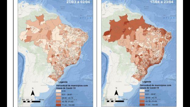 Dois mapas do Brasil com distribuição de casos pelo país, em dois períodos diferentes (27/03-02/04 e 17/04-23/04)