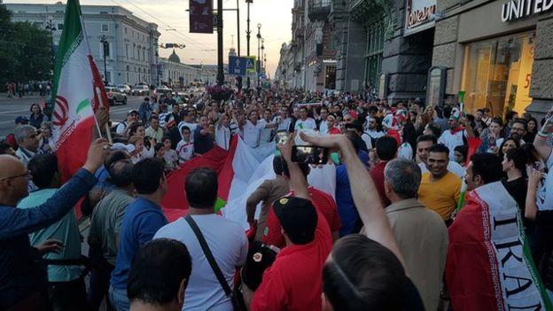 خیابان اصلی سنپترزبورگ در اشغال هواداران تیم ایران