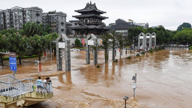 Streets submerged by floodwater in Guilin in China's southern Guangxi region