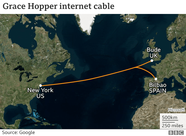 This map shows the Grace Hopper cable running from New York to Bude in the UK and Bilbao in Spain
