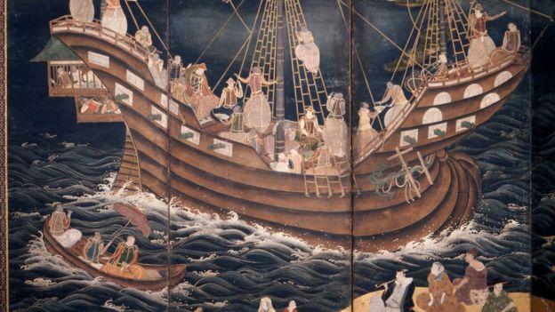 Detalle de una pintura que habla de la presencia de barcos portugueses en Nagasaki en el siglo XVII.