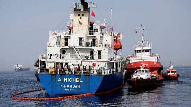 The damaged UAE-flagged tanker A Michel seen off the Port of Fujairah (13 May 2019)