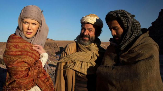 A still from Queen of the Desert, featuring Nicole Kidman as Gertrude Bell and Jay Abdo as her guide, Fattuh